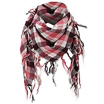 Ladies/Womens Large Check Pattern Summer Scarf (111 x 111cm) (Pink)
