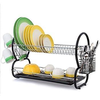 Kawachi Kitchen Sink Dish Drying Rack Washed Utensil Tray Rack Basket Antimicrobial Dish Drainer Organizer - Red
