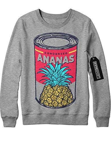 Sweatshirt Ananas Pineapple Can Dose Granate Express Hipster H970002 Grau (Ananas Express Kostüm)