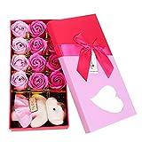TININNA 12 Stück Kreatives Valentinstag Geburtstag Geschenk Künstliche Rose Seife Blume Bad Seife Rose Blütenblatt mit Spielzeug Bär (Rosa)