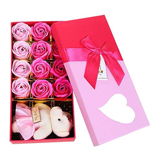 TININNA 12pcs Saint-Valentin Rose Fleur Parfumée Bath Savon de Bain avec Ourson en Peluche Pour Les Main Bain Corps Romantique Cadeaux