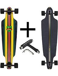 dstreet Drop Through Longboard Rasta + Fan tic26Skate Tool