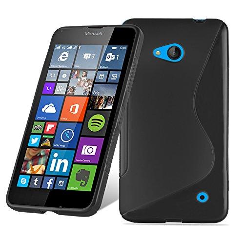 Preisvergleich Produktbild Cadorabo DE-105561 Nokia Lumia 640 Handyhülle aus flexiblem TPU Silikon im S-Line Design Schwarz