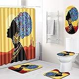 GLONG 5 Stück Duschvorhang Badezimmer Teppich Matten Set WC Teppich enthält Contour Mat und Deckel Abdeckung, Rutschfeste,H,L