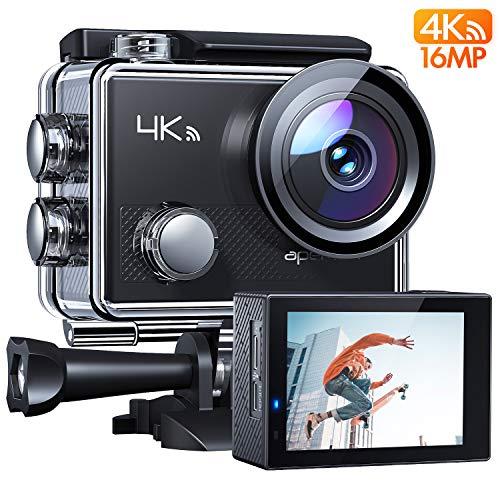 APEMAN Action Cam A77, 4K WIFI 16MP Unterwasserkamera Digitale Wasserdichte 30M Helmkamera (2.4G Fernbedienung und kostenlose Zubehör)