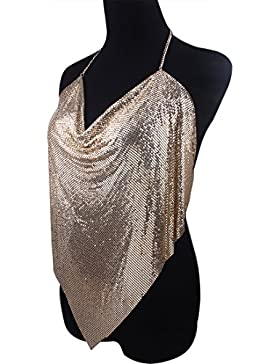 Solememo Nightclub See Through Deep V Halter Top Metal Sequins Crop Top Sexy Club Wear
