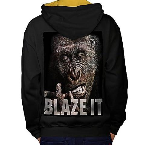 Blaze it Weed Pot Rasta Men L Contrast Hoodie Back | Wellcoda