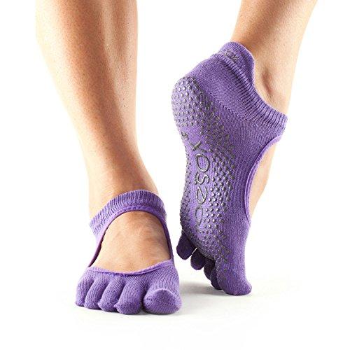 ToeSox Grip Full Toe Bellarina danza calze, calzini e possono essere utilizzate per barre, Yoga, Pilates, Fitness antiscivolo calze-1Coppia, Light Purple, Medium/6-8.5