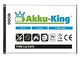 Akku-King Akku ersetzt LG BL-44JN - Li-Ion 1700mAh - für Optimus Black P970, Optimus Hub, Sol, Net, Optimus Slider, Optimus L3, L3 2, L5 E610
