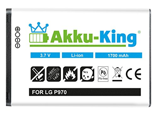 Akku-King Akku kompatibel mit LG BL-44JN - Li-Ion 1700mAh - für Optimus Black P970, Optimus Hub, Sol, Net, Optimus Slider, Optimus L3, L3 2, L5 E610 (P970 Optimus Black Lg)