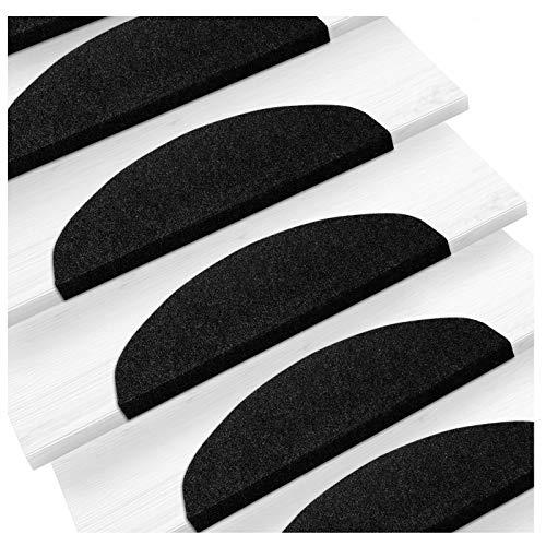 etm Set de 15 marchettes d'escalier Surface Confortable et antidérapante | Taille 23x65cm | Couleurs diverses - Anthracite