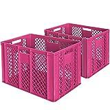 2x Eurobehälter/Bäckerkiste, LxBxH 600 x 400 x 410 mm, lebensmittelecht, Boden und Wände durchbrochen, pink