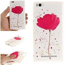 Qiaogle Teléfono Caso - Funda de TPU silicona Carcasa Case Cover para Xiaomi Mi4C / Mi4i (5.0 Pulgadas) - TX33 / Rose lotus daffodils