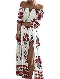 ISASSY Damen Sommerkleid Elegant Schulterfreies Kleid Maxikleid Chiffon Lange Abendkleid Strandkleid