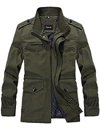 Zicac Herren-Parka, Trenchcoat, für Frühling und Herbst, Militär-Stil, schmale Passform, mit langen Ärmeln, aus Baumwolle, sportlich, leicht, mit Kordelzug und Reißverschluss