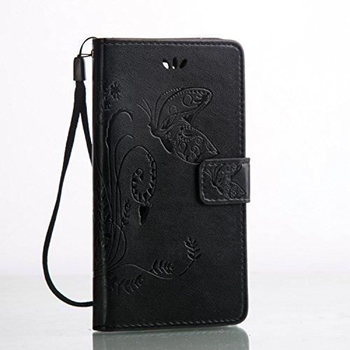 Cozy Hut Custodia portafoglio / wallet / libro in pelle per Apple iPhone 5C Custodia in Pelle Stampata Morbida PU Case Cover - Cover elegante e di alta qualità,Funzione di sostegno Stand,con la copert nero