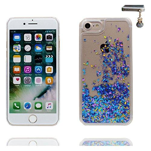iPhone 7 Custodia, Bling Glitter ultra sottile, Case iPhone 7 Copertura 4.7 pollici, Shock Dust Resistant Shell Cover & tappi antipolvere blu Bling COLOR 1