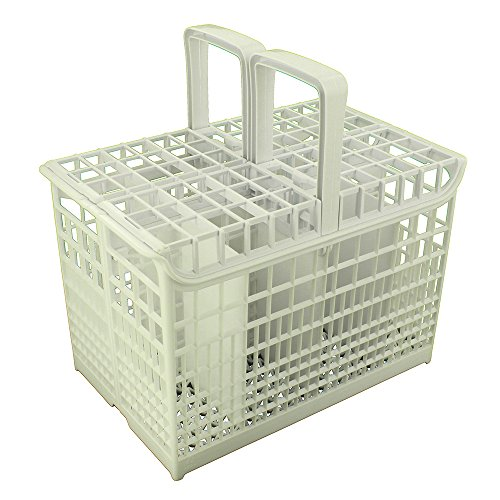 8-Compartment Cutlery Basket with Handle Fits Hoover Candy Dishwasher, White
