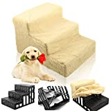D2B Lightweight Folding Pet Dog 3 Steps Stairs Portable Pet Ladder Ramp with Soft Plush Washable Cover