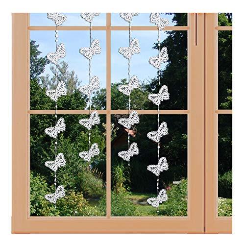artex deko Girlande/Fensterbild Schmetterling Hochwertige Ganzjahres-Fensterdekoration aus Echter Plauener Spitze inkl. 2 Saughaken