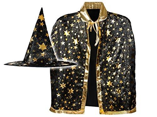 Iso Trade Zauberer Kostüm Umhang Hut Fasching Halloween Mantel Vampir Zubehör #4357