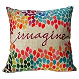 ESAILQ Colorful Imagine Pattern Cotton Linen Square Decor Throw Pillow Case Cushion Cover Multicoloured 45cm x 45cm (45cm x 45cm, Multicoloured)