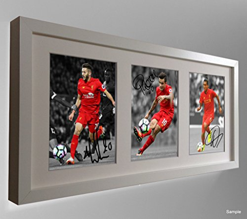2016/17 White Signed Liverpool Adam Lallana Phillippe Coutinho Firmino Autographed Photo Picture Frame