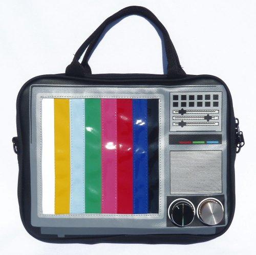 """Fernseher TV Testbild Laptoptasche 11"""" Zoll Notebooktasche iPad Tasche mit Henkel Umhängetasche Retro Bag Schultertasche"""