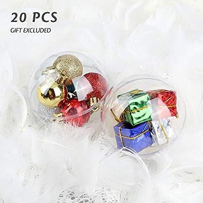 Uten Bolas de Navidad Bola de Plástico Rellenable Bolas de Bricolaje para Fiestas Bodas, 10cm, 20 pcs