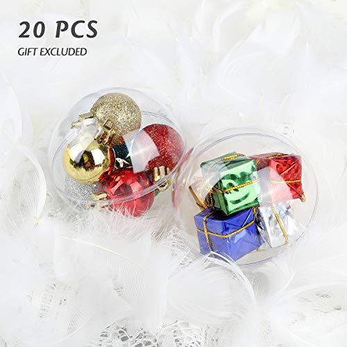 Uten Palla di plastica Acrilico Trasparente Fillable Palla Ornamento di plastica Palla di Natale Ornamentale Set 20 PCS