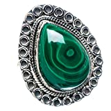 Malachite, Malachit 925 Sterling Silber Ring 8.25