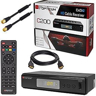 Kabel Receiver DVB-C HB-DIGITAL Set: Opticum HD C200 Receiver für digitales Kabelfernsehen (HDMI SCART USB Mediaplayer) + 10m HDTV Antennenkabel vergoldet mit Mantelstromfilter schwarz + HDMI Kabel