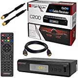 Kabel Receiver Kabelreceiver – DVB-C HB-DIGITAL SET: Opticum HD C200 Receiver für digitales Kabelfernsehen (HDMI, SCART, USB 2.0, Mediaplayer) + 3m HDTV Antennenkabel vergoldet mit Mantelstromfilter schwarz + HDMI Kabel
