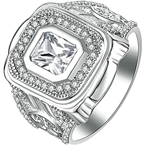 Daesar Joyería Compromiso Anillo de Plata, Sortija para Hombre Boda Banda Personalizado Halo de Diamante Imitación Cushion