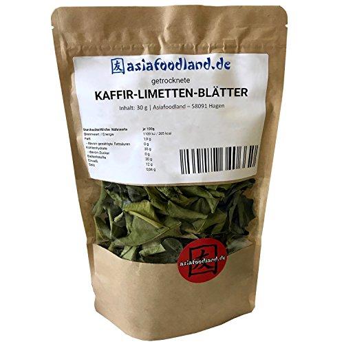 Asiafoodland – Kaffir Limetten Blätter – Kaffirlimettenblätter – Kaffir Limettenblätter bzw. Kaffernlimette – getrocknet, 1er Pack (1 x 30 g)