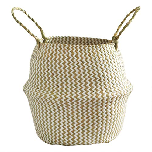 Aufbewahrungskörbe,Rifuli®Spielzeugaufbewahrung Körbe Stapelboxen Seegras Weidenkorb Blumentopf Faltkorb Schmutzig Korb Lagerung Dekoration