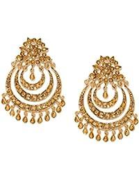 Zaveri Pearls Antique Gold Tone Muti Layer Chandbali Earring For Women-ZPFK6996