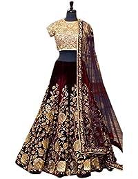 Generic Women's Heavy Brocat Semi Stitch Lehenga Choli (Ethnic_ER110107_Maroon_Free Size)