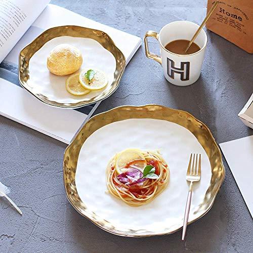 Canju Küchengeschirr/Geschirr/Outdoor/Camping Geschirr American Creative White Phnom Penh Salat Obstteller Western Steak Plate,10 Zoll American White Plate