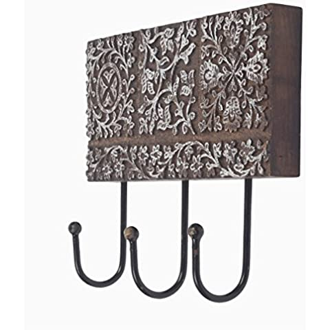 Metal hecho a mano 3 clavijas de madera rectangulo de pared montado clave de ropa gancho titular accesorios decorativos Home Decor acentos