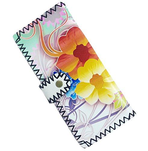 Amoyie Donna Portafoglio Pelle Portamonete portafogli in pelle delle donne portafoglio elegante delle signore di modo della borsa Organizzatore (Breve, Gatto) Lungo, Fiori Arancioni
