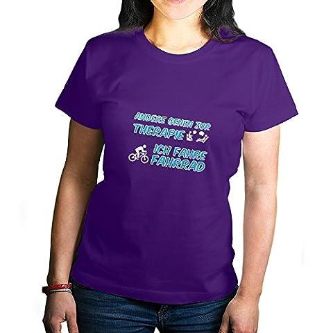 Shockproof - Andere gehen zur Therapie, Ich fahre Fahrrad - Damen T-Shirt, Größe L, violett (Puky Crusader)
