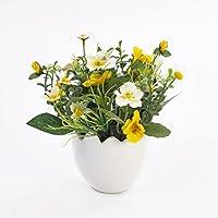Pensées et camomille décoratives TAMINA en pot, jaune-blanc, 20 cm, Ø 23 cm - Composition artificielle / Petite plante fleurie - artplants