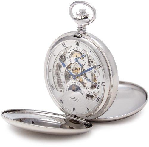 Pocket Watch Geschichte (Bouverat 1919Doppelöffnung poliert Fall Full Hunter mechanische Roman Taschenuhr mit weißem Zifferblatt BV824206)