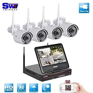 SW 4 CH 720P Enregistreur vidéo sans fil avec moniteur LCD 25,7 cm Système pour caméra de sécurité avec 4 Extérieur 720P Large Angle de vue caméra de vidéosurveillance et de surveillance Wifi Disque Dur 1 To Plug et Play