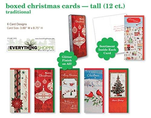 Christmas Holiday boxed Cards tradizionale Xmas box set assortito con 6diversi impreziosito carte che include glitterati palle di Natale, Natale, albero, e uccelli W/Sentiment inside 12ct.