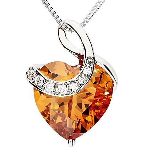 MYA art Damen Kette Halskette Herzketten 925 Sterling Silber Herz mit Ornament Anhänger Swarovski Elements Gold MYASIKET-10