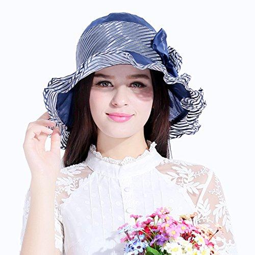LLZTYM Lady/Chapeau De Soleil/Soie De Mûrier/Parasol/Voyage/Chapeau De Plage/Cadeau/Chapellerie/Chapeau blue