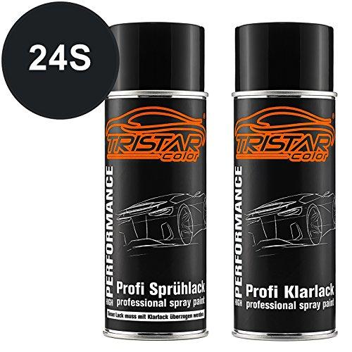 TRISTARcolor Autolack Spraydosen Set für Ford Australia 24S Midnight/Brillant Black Basislack Klarlack Sprühdose 400ml - 24s Set