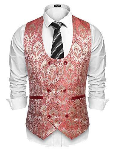 Coofandy Herren Slim Fit Paisley Anzug Weste zweireihig Smoking Weste - rot - XX-Large